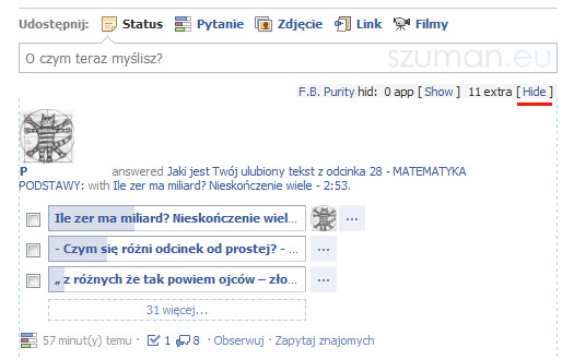 zablkowany wpis na facebook - fluff busting purity