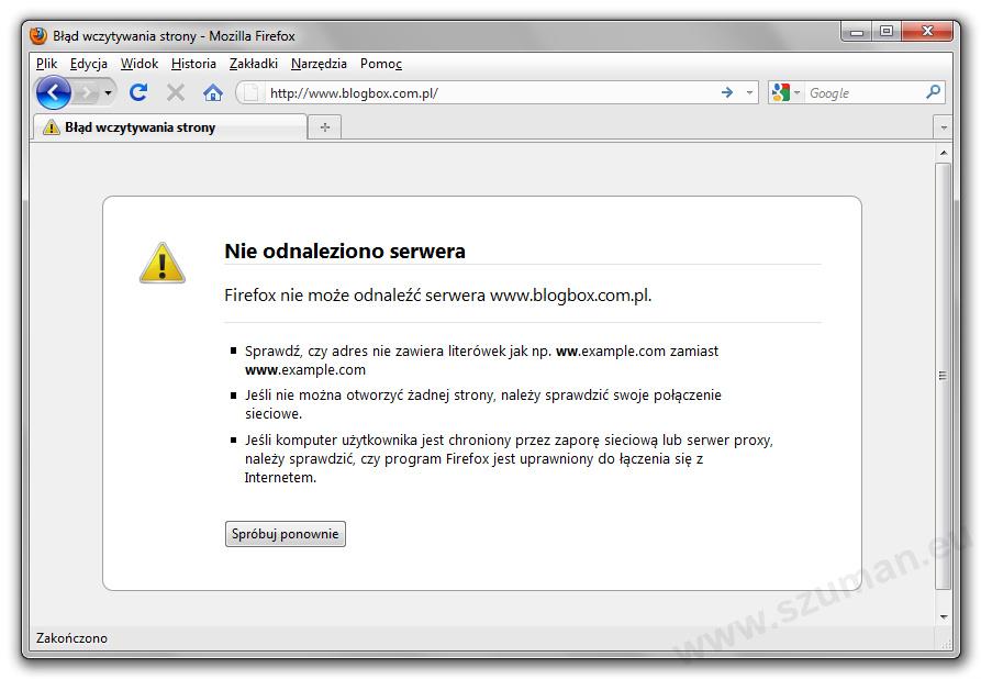 Dlaczego Blogbox nie działa? Bo nie opłacili domeny.