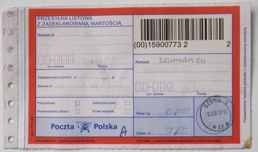 Przesyłka listowa z zadeklarowaną wartością