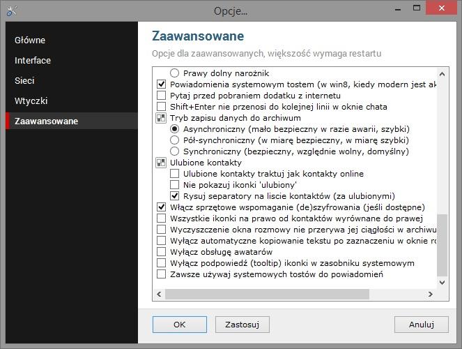 Okno ustawień zaawansowanych komunikatora WTW2