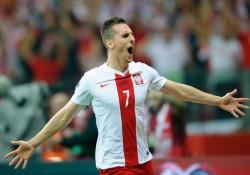 Arkadiusz Milik, strzelec pierwszej bramki w wygranym 2:0 meczu z Niemcami. // fot. Paweł Andrachiewicz, Pressfocus