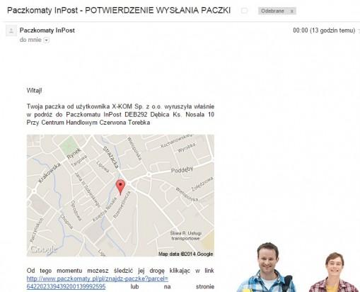 Informacja z InPost o przesyłce będącej w drodze do mojego Paczkomatu