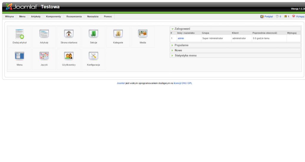 Joomla 1.5.x - panel administratora