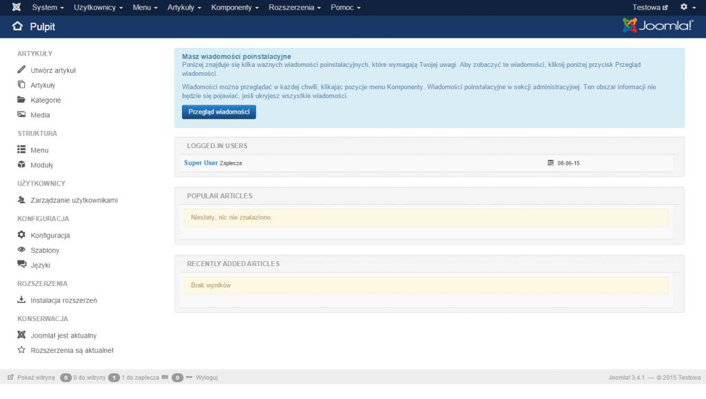Joomla 3.4.x - panel administratora