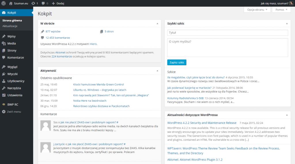 Wordpress - panel administratora